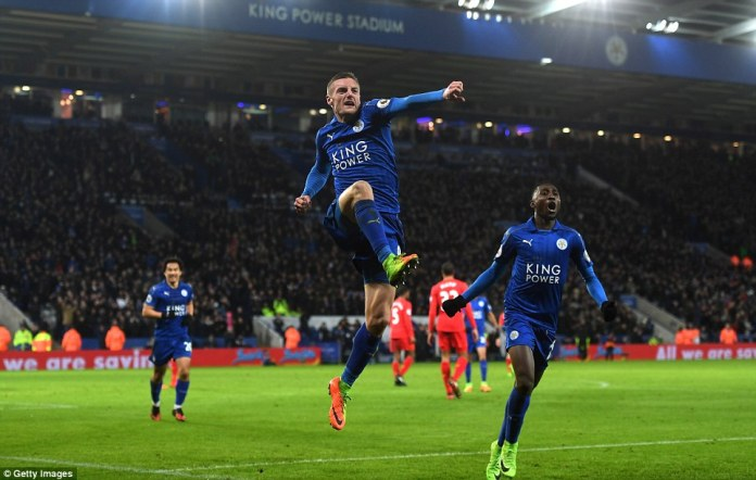 Former non-League man jumps for joy as Leicester stunned their opponents by taking a three-goal lead in front of home fans