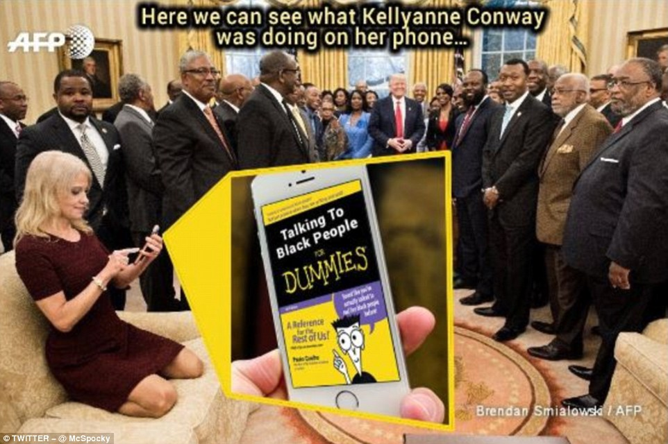 One user imagined that Conway - who was seen apparently texting after taking a picture of the president - was trying to figure out how to talk to the invited guests, who were members of the Historically Black Colleges and Universities