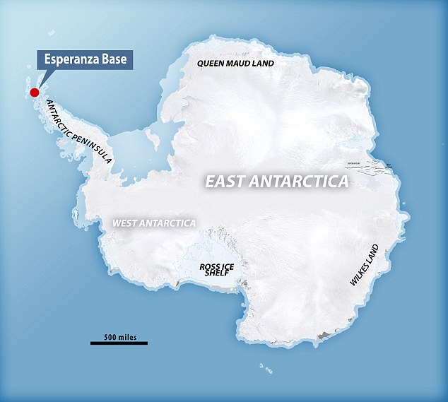 The record-high temperatures were recorded at the Argentine Experanza Base in the Antarctic Peninsula on the north-west coast of East Antarctica