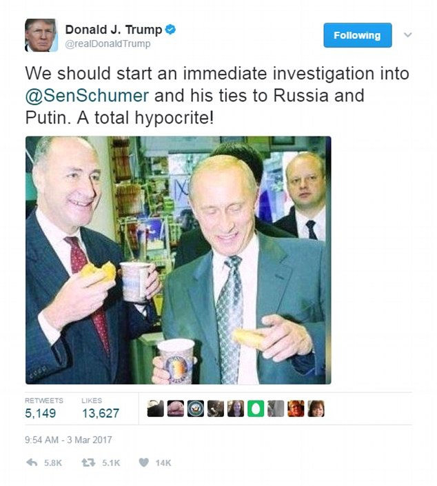 Trump sent out the tweet attacking Schumer as his own administration was under fire for Russia contacts during a year when Russia was believed to be behind hacking of the presidential election