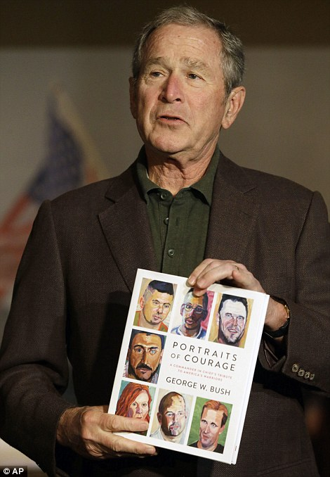 President Bush was inspired to learn oil painting after readingWinston Churchill's essay 'Painting as a Pastime'