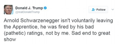 Not happy: In response, the President Donald Trump and former star of the show lashed out in Twitter rant, saying he was fired due to 'pathetic ratings'