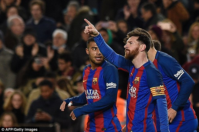 Messi made the gesture and pointed to the stands during the win over Celta Vigo on Saturday