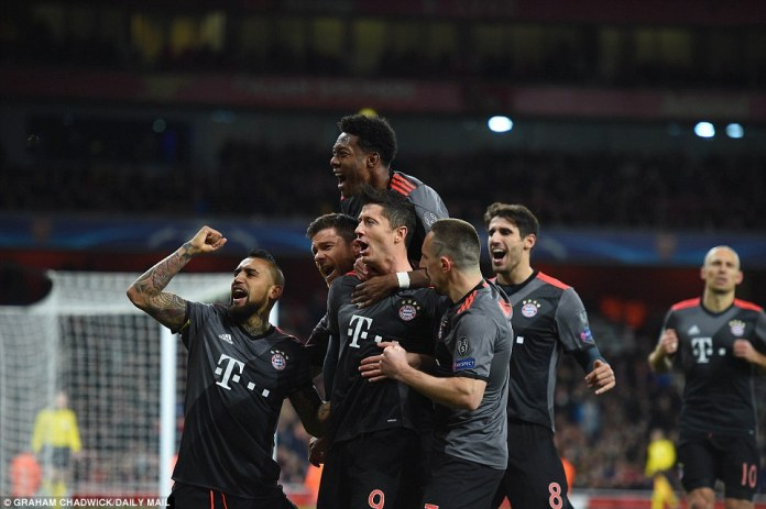 Lewandowski ran straight towards the jubilant Bayern supporters after he scored from the penalty spot
