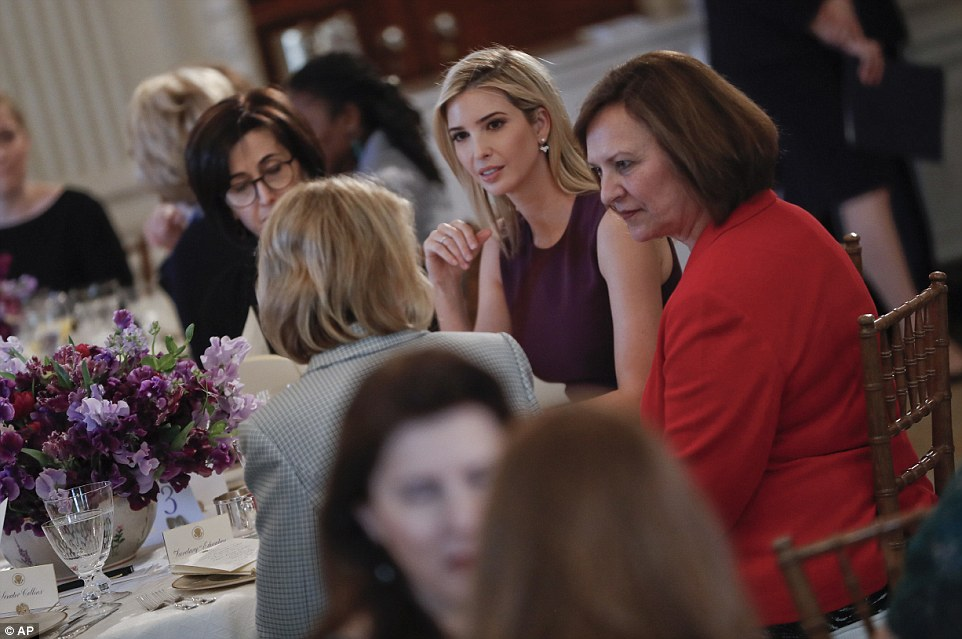 Ivanka Trump is seen chatting with guests at the White House today, for an event her step-mother put on for International Women's Day
