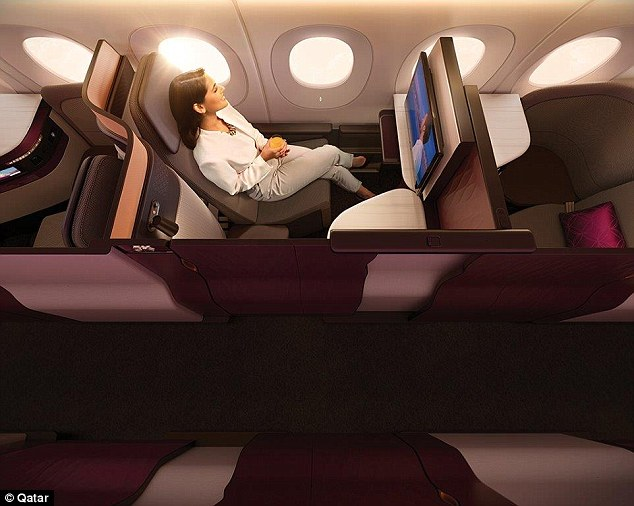Adjustable panels and movable TV monitors on the centre four seats allows colleagues, friends or families travelling together to transform their space into a private suite