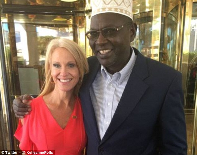 Malik Obama (right) is seen with top Trump adviser Kellyanne Conway in Las Vegas. Malik Obama accepted an invitation from Trump to attend the October 19 debate against Hillary Clinton in Las Vegas
