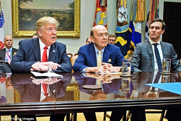 Last month, Trump appointed a new Commerce Secretary, Wilbur Ross (centre), a man with multiple and well-established links to Russian financiers. Trump's son-in-law and senior adviser Jared Kushner (right) had undisclosed meetings with the Russian ambassador