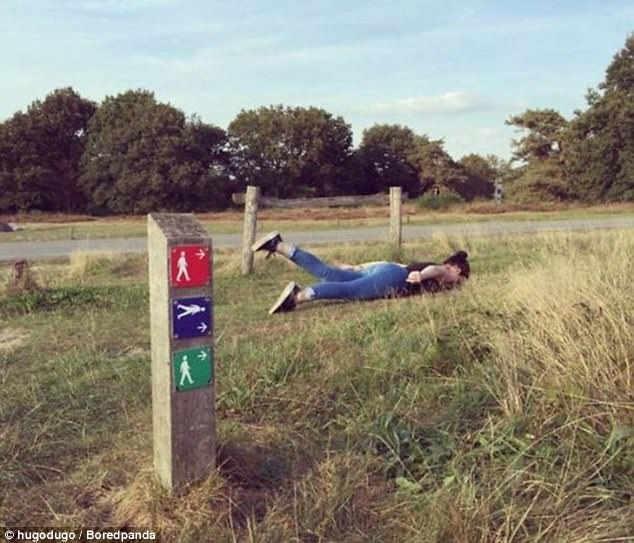 A wonky trail sign appeared to have left one female hiker more than a little confused