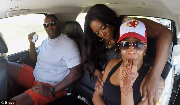 Emotional moment: Sheree Whitfield grew emotional after confronting her ex-husband Bob about past alleged abuse during Sunday's episode of The Real Housewives Of Atlanta