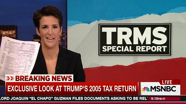 Donald Trump's tax returns for 2005 have been obtained by Rachel Maddow (pictured). A furious White House claimed that he paid $38m on a $150m income that year -  an inflated sum
