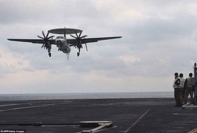 """The all-weather E-2 Hawkeye airborne early warning and battle management aircraft has served as the """"eyes"""" of the U.S. Navy fleet for more than 30 years"""