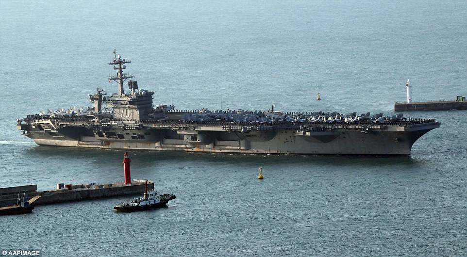 The nuclear-powered aircraft carrier is taking part in South Korea-U.S. joint military maneuvers carried out in the largest scale yet, with North Korea's growing nuclear and missile threats in focus