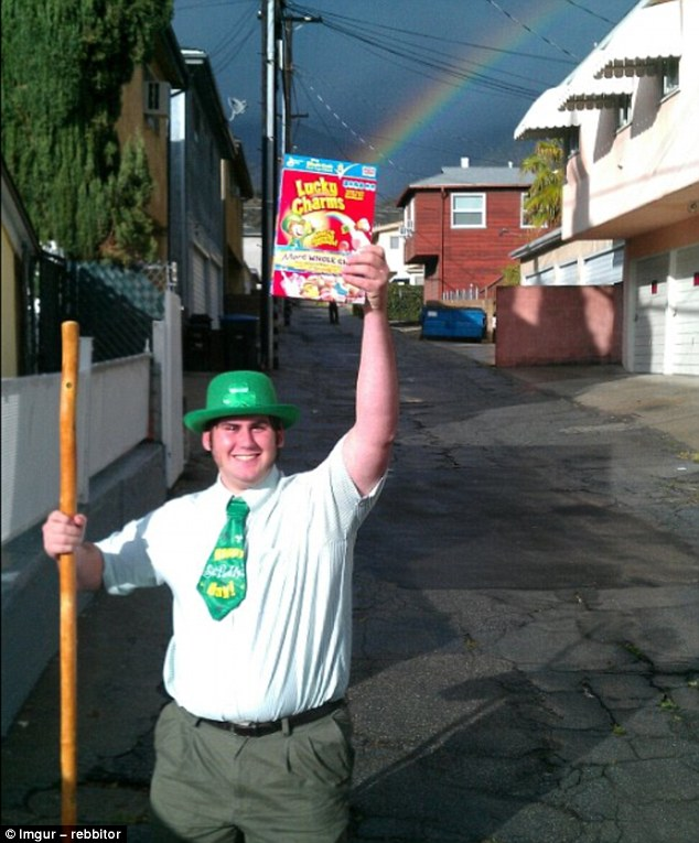 The grinning man who shared this image captioned it: 'This is a photo of me on St Patrick's Day. It has not been Photoshopped or altered in any way'