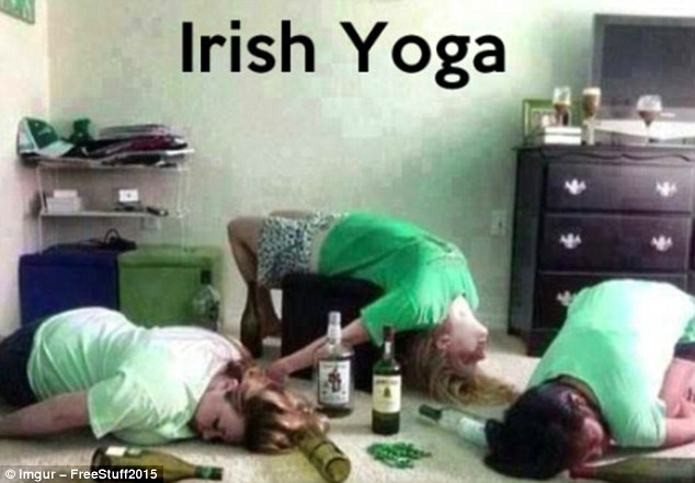 This image, jokingly captioned 'Irish Yoga', shows three women supposedly passed out in an array of acrobatic poses, the floor around them strewn with empty bottles