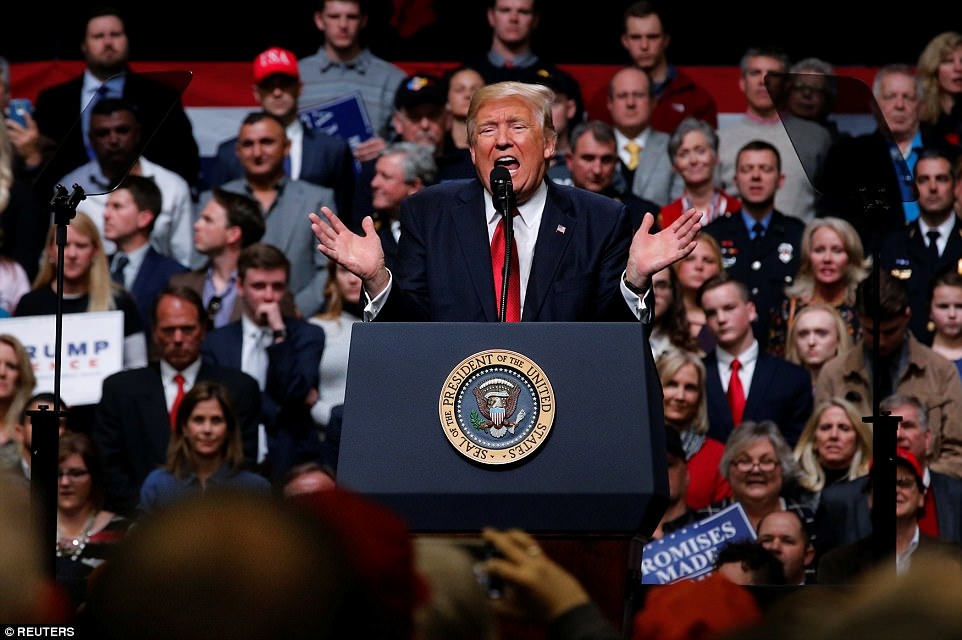 Fury: President Trump told the rally in Nashville, Tennessee that he would not accept the 'unprecedented overreach' of US District Jude Derrick K. Watson in Hawaii