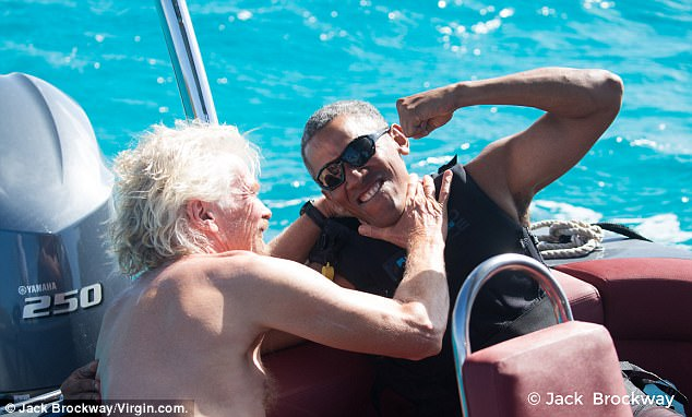 Obama is known for his tropical holidays, having spend time with Richard Branson in the British Virgin Islands (pictured above)
