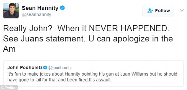 'NEVER HAPPENED': Hannity appeared to react in anger to this comment by a New York Post columnist who said Hannity 'should have gone to jail' for what would count as assault