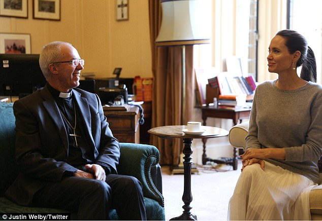 Meeting of minds: Angelina Jolie met with the Archbishop of Canterbury, Justin Welby, at London's Lambeth Palace on Thursday