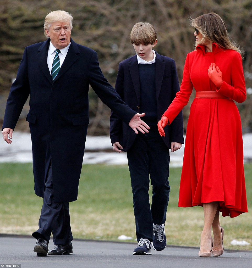 Barron and Melania listened as The President spoke on the walk out