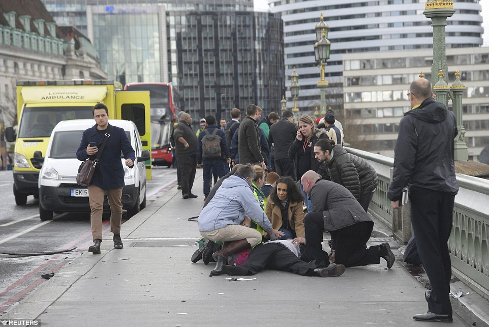 Members of the public rushed to help a man run down after the vehicle mounted the pavement on Westminster Bridge