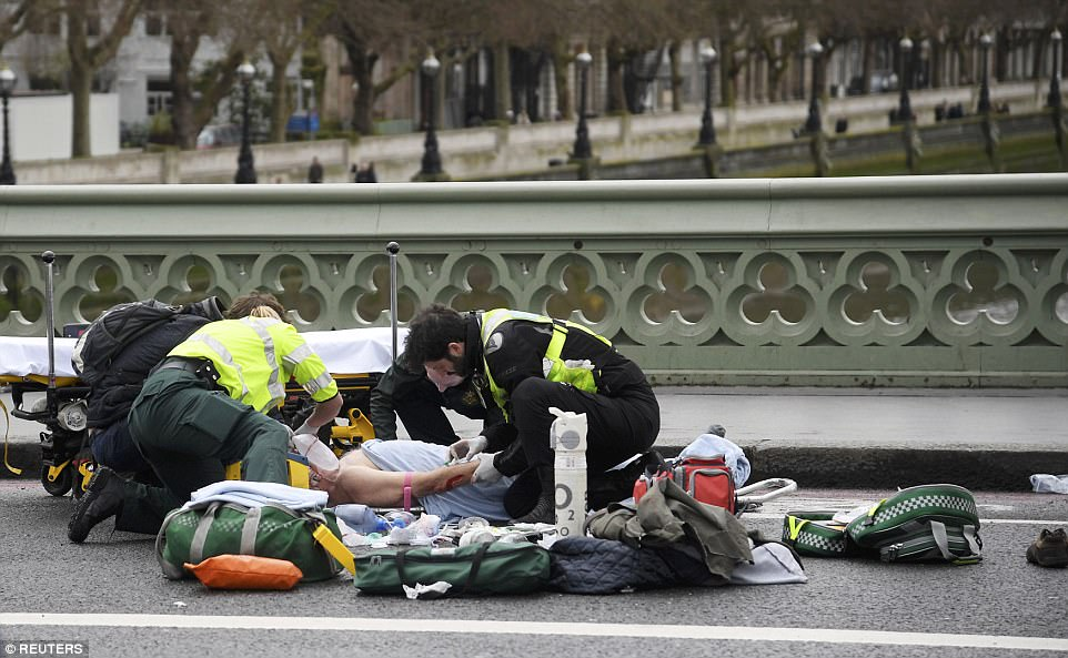 There were disturbing scenes on Westminster Bridge where around a dozen pedestrians were said to have been knocked down