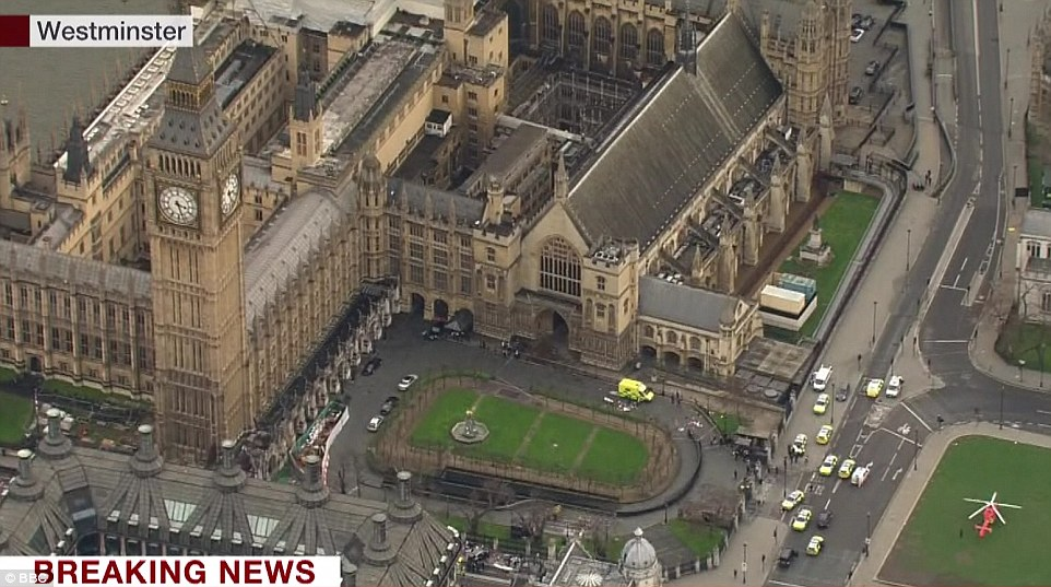 A view from the opposite angle shows where the policeman was attacked in the shadow of Big Ben this afternoon