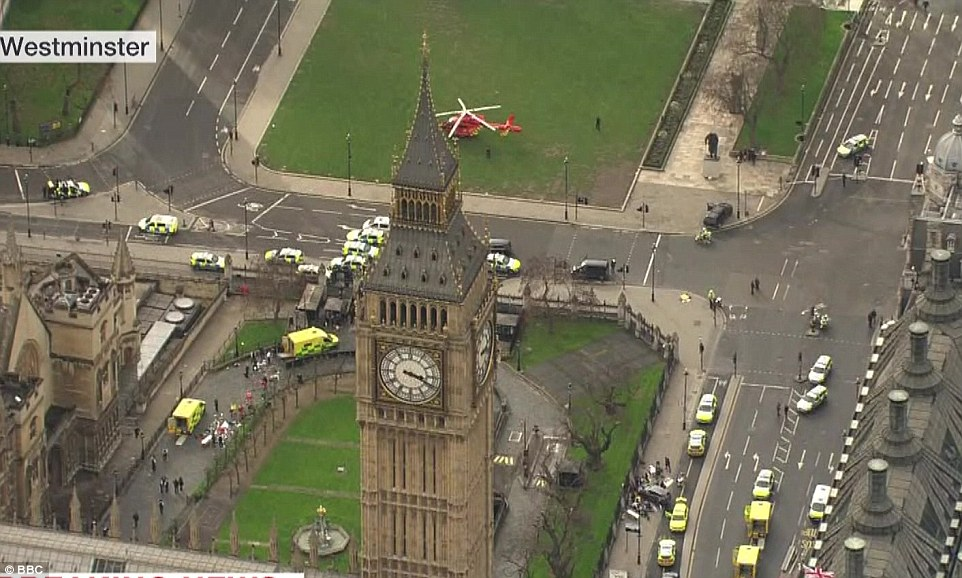 Around three shots rang out as the attacker ran through the gates into the front yard of the parliamentary compound.