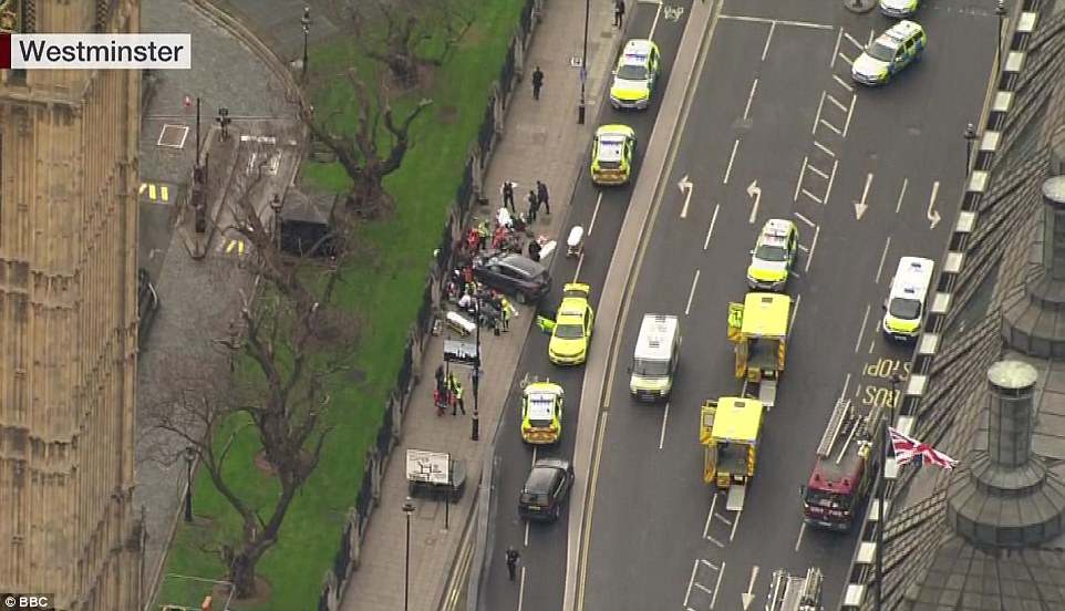 An announcement made in Parliament said there was a suspicious package in a vehicle and the bomb squad had been called