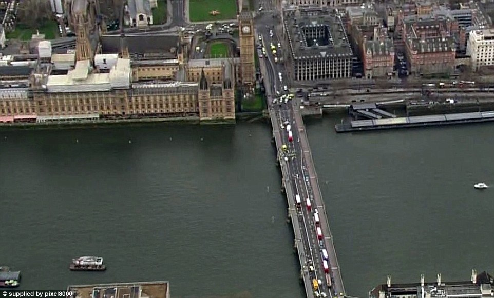An aerial view of Westminster Bridge shows ambulance crews treating those who were mowed down by the attacker