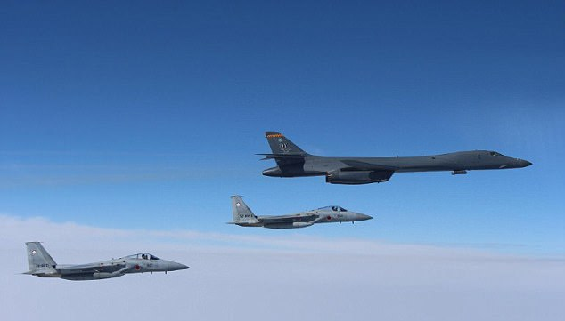 The US B-1B Lancer bomber was seen flying in formation with Japan Air Self Defense Force F-15s on March 21