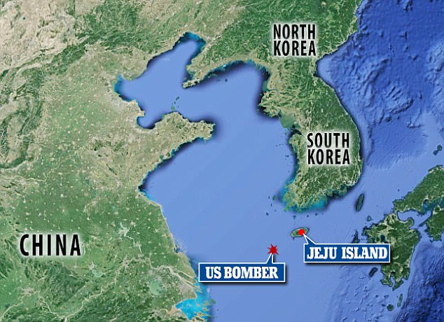 This map shows where the bomber was flying when Chinese officials contacted the American pilots during the stand off