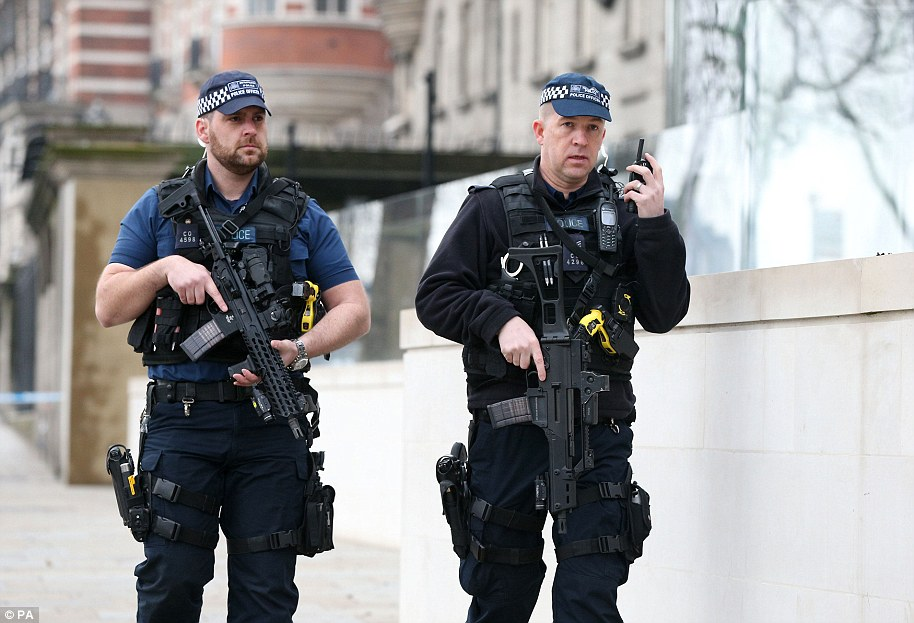 Armed police in Westminster today. The death of unarmed officer has raised questions all police in such locations should have guns