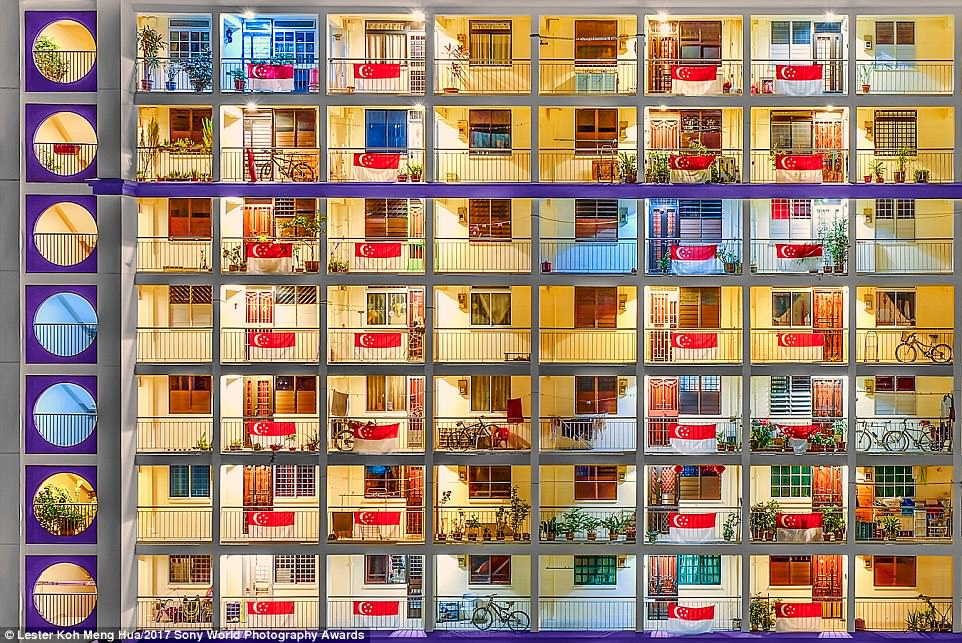 This hypnotic image shows uniform public housing in Singapore at dawn