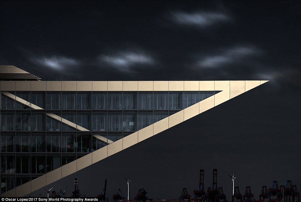 This image shows the office building called Dockland in Hamburg, Germany, and was taken in summer of 2016