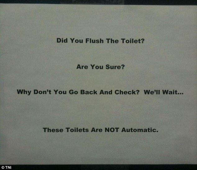 This company want to make very very sure that customers remember to flush the toilet