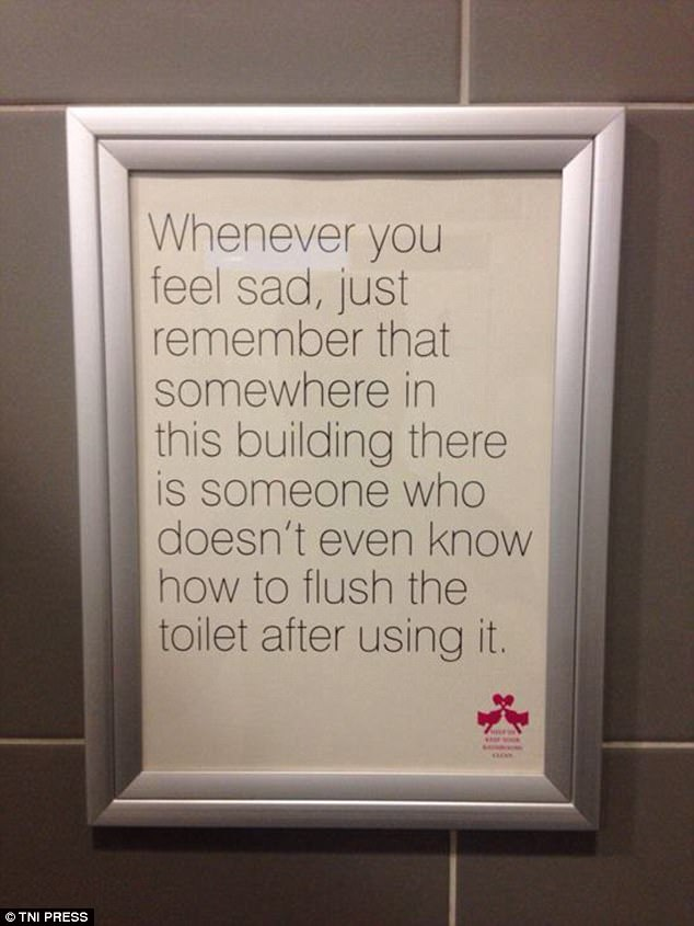 This sign hopes to offer those feeling low a little comfort by reminding them to flush the toilet