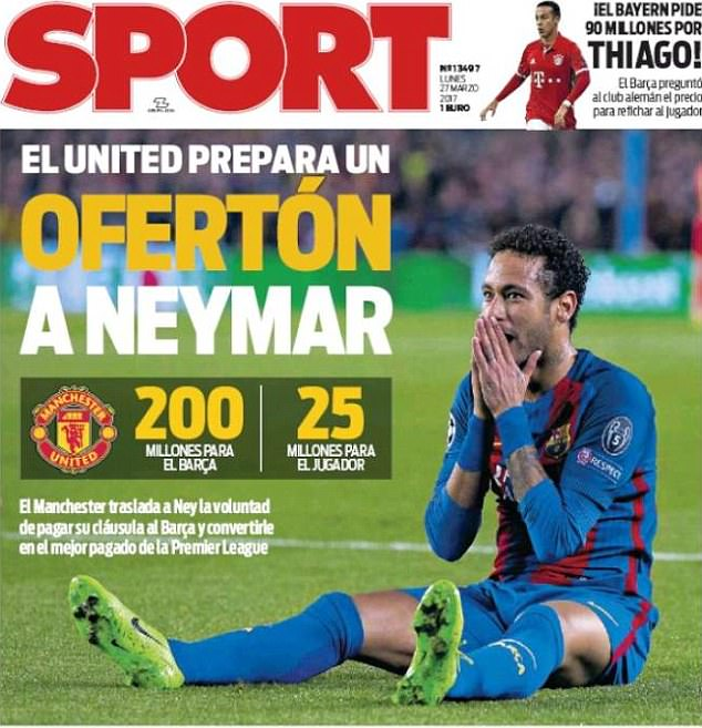 Manchester United are preparing an offer for Neymar, according to Sport