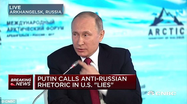 'WATCH MY LIPS': Russian President Vladimir Putin emphatically denied interfering in the U.S. elections, saying 'Watch my lips, no'