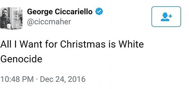 He wrote that the wanted 'white genocide' for Christmas last year