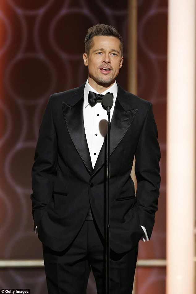 Rare public appearance: Brad surprised the crowd at the Golden Globes on January 8, but otherwise avoided the awards circuit despite being a producer on Moonlight