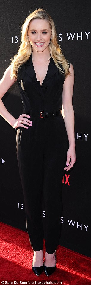 Famous family: Kelsey Grammer's actress daughter Greer wore a black jumpsuit to the event