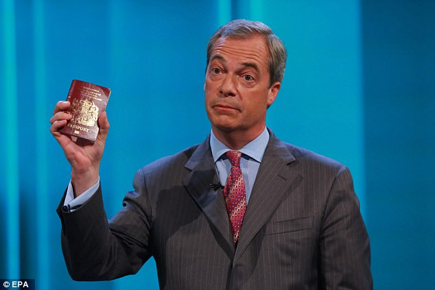 Nigel Farage campaigned in the referendum to restore the blue passport and even used his current burgundy one as a campaigning prop