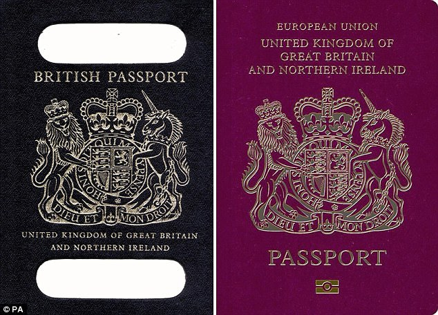 British passports were traditionally a dark navy colour but as part of European rules were switched to the current burgundy colour in 1988.,