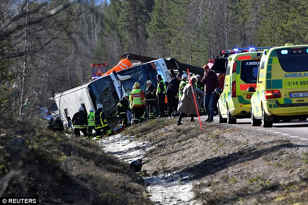 The bus was en route to a ski resort and most passengers were asleep as the vehicle began 'rolling around'