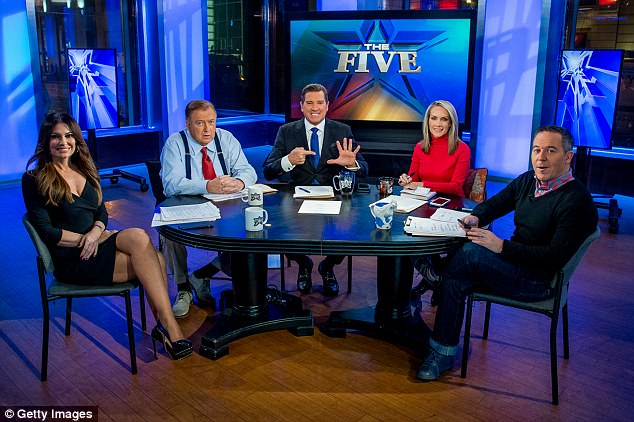 The Five: Guilfoyle, Bob Beckel, Eric Bolling, Dana Perino and Greg Gutfeld in January when Beckel returned to the show after a two year absence (above)