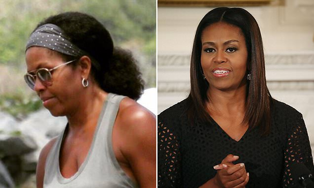 Michelle Obama pictured wearing her natural hair