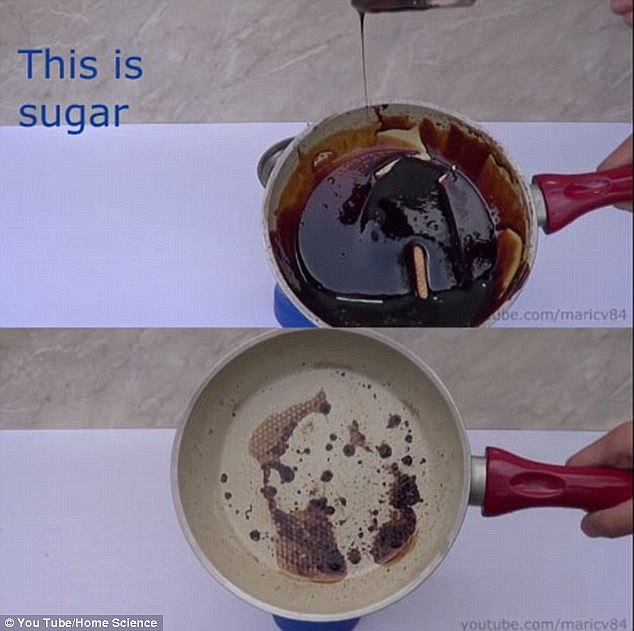 While the sugar-free drink left only a small amount of caramelised sugar in the pan, a thick dark tar remained when the classic Coke was boiled