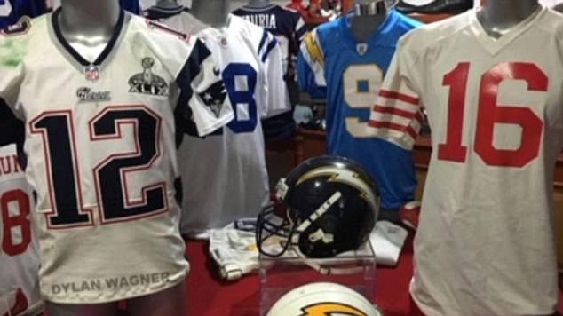 Wagner said Martin Mauricio Ortega sent him this picture of his jersey collection last year. On the left is Brady's missing Super Bowl 49 jersey. When they raided his collection, the FBI found the Super Bowl 51 jersey as well