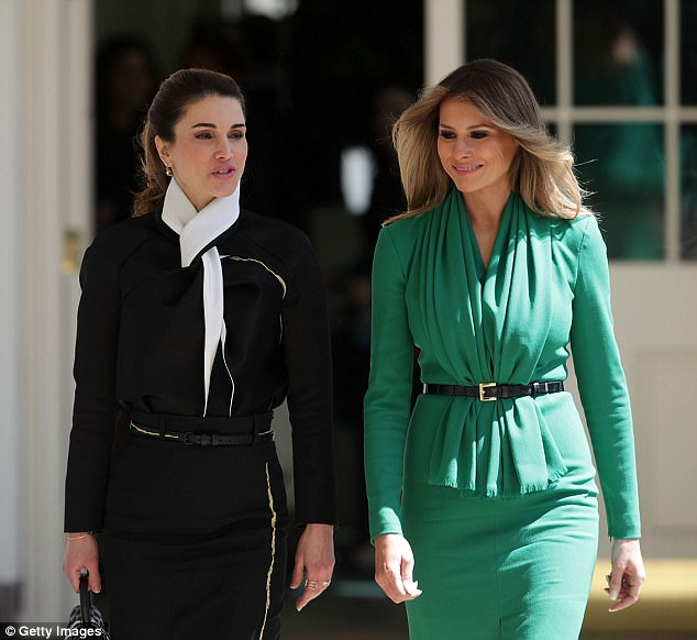 Greetings: Melania Trump met Queen Rania of Jordan for the first time on Wednesday